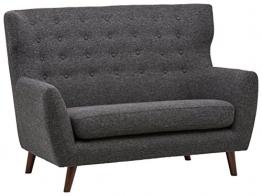 Rivet Hawthorne Modernes, getuftetes Zweisitzer-Sofa im Stil der 1950er Jahre, B 145cm, Kaviar - 1