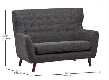 Rivet Hawthorne Modernes, getuftetes Zweisitzer-Sofa im Stil der 1950er Jahre, B 145cm, Kaviar - 5