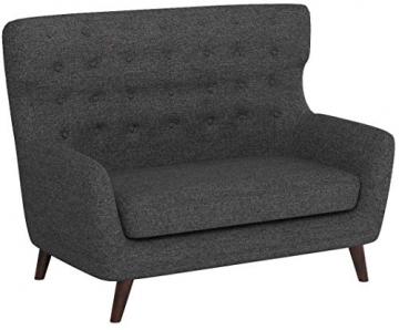 Rivet Hawthorne Modernes, getuftetes Zweisitzer-Sofa im Stil der 1950er Jahre, B 145cm, Kaviar - 7