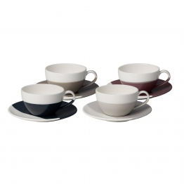 Royal Doulton - Coffee Studio Tasse mit Untertasse 4er Set - weiß/265ml