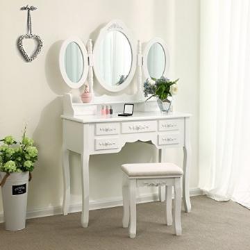 Songmics luxuriös Kippsicherung Schminktisch mit 3 spiegel und hocker, Lederimitat, weiß, 145 x 90 x 40 cm - 2