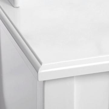 Songmics luxuriös Kippsicherung Schminktisch mit 3 spiegel und hocker, Lederimitat, weiß, 145 x 90 x 40 cm - 3