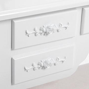 Songmics luxuriös Kippsicherung Schminktisch mit 3 spiegel und hocker, Lederimitat, weiß, 145 x 90 x 40 cm - 4