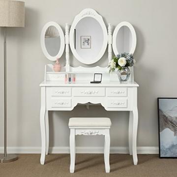 Songmics luxuriös Kippsicherung Schminktisch mit 3 spiegel und hocker, Lederimitat, weiß, 145 x 90 x 40 cm - 1