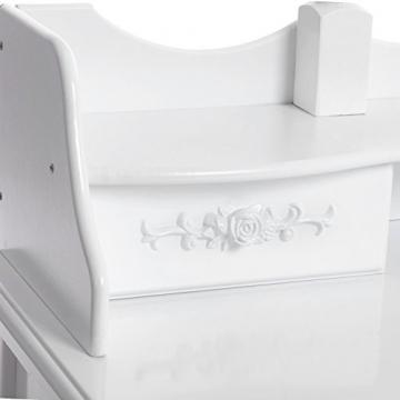 Songmics luxuriös Kippsicherung Schminktisch mit 3 spiegel und hocker, Lederimitat, weiß, 145 x 90 x 40 cm - 5