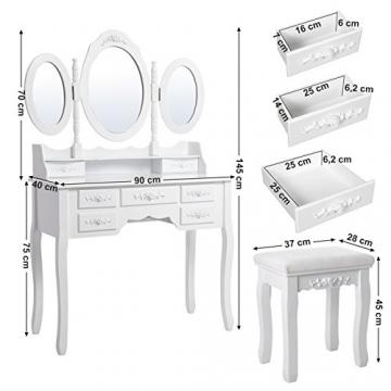 Songmics luxuriös Kippsicherung Schminktisch mit 3 spiegel und hocker, Lederimitat, weiß, 145 x 90 x 40 cm - 6