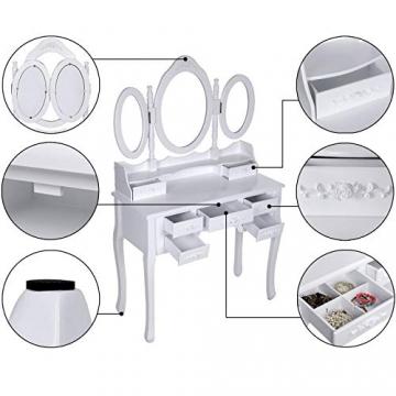 Songmics luxuriös Kippsicherung Schminktisch mit 3 spiegel und hocker, Lederimitat, weiß, 145 x 90 x 40 cm - 8