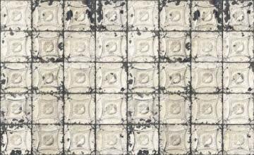 Tapete Brooklyn Tins von Merci, 1000x48,7cm, 1 Rolle, Cremefarben / dunkel - 3
