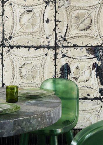 Tapete Brooklyn Tins von Merci, 1000x48,7cm, 1 Rolle, Cremefarben / dunkel - 4