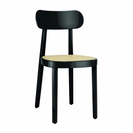 Thonet - Gloss 118 Stuhl mit Rohrgeflecht - schwarz/Hochglanz lackiert/BxHxT 42x80x50cm/Sitz mit Rohrgeflecht