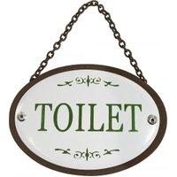 Türschild TOILET Oval an Kette Metall Vintage Braun Weiß Nostalgie Toilettens...