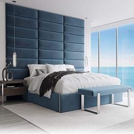 VANT Gepolsterte Kopfteile - Accent Wall Panels - 4er - Packungen Kopfteil für Einzel - und Doppelbetten (Plüsch Samt Pfau Blau, 76cm BREITE) - 1