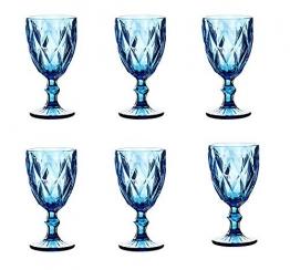 Vintage 6 Teile Set Rombus König Weinglas Glas Gläser Weingläser Wasserglas Longdrinkglas (blau) - 1