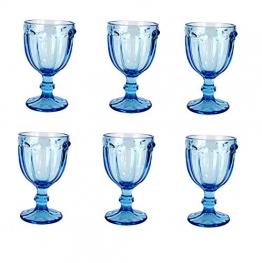 Vintage 6 Teile Set Schmetterlinge König Weinglas Glas Gläser Weingläser Wasserglas Longdrinkglas (blau) - 1