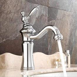 Vintage Waschtischarmatur Bad Wasserhahn 360°Drehbar Einhebelmischer Waschbecken Armatur Badarmatur Mischbatterie Waschtischbatterie Messing -(Chrom) - 1