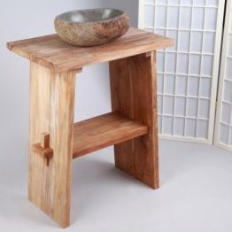 WOHNFREUDEN Waschtisch aus Teak-Holz ♥ 74 cm hoch - 60 cm lang ✓ geschliffene Oberfläche ✓ ideal für Naturstein Aufsatzbecken ✓ Waschbecken Unterschrank für Gäste WC Bad ✓versandkostenfrei ✓ - 1