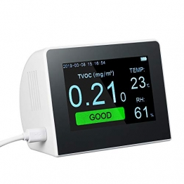 YWT Luftqualitätsmonitor, elektrischer Gasdetektor, digitaler PM2.5 HCHO TVOC-Tester für den Innen- und Außenbereich, CO2-Messgerät, Gasanalysator, LCD-Anzeige - 1