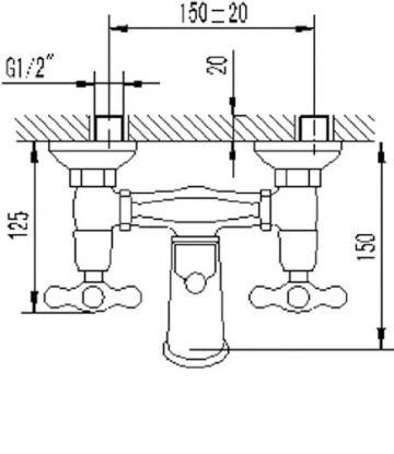 Zweigriffmischer Athenas für Wanne inklusive Brausegarnitur   Chrom   Wasserhahn   Badewannenarmatur   Wannenbatterie - 3
