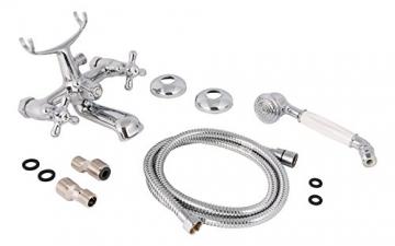 Zweigriffmischer Athenas für Wanne inklusive Brausegarnitur   Chrom   Wasserhahn   Badewannenarmatur   Wannenbatterie - 4